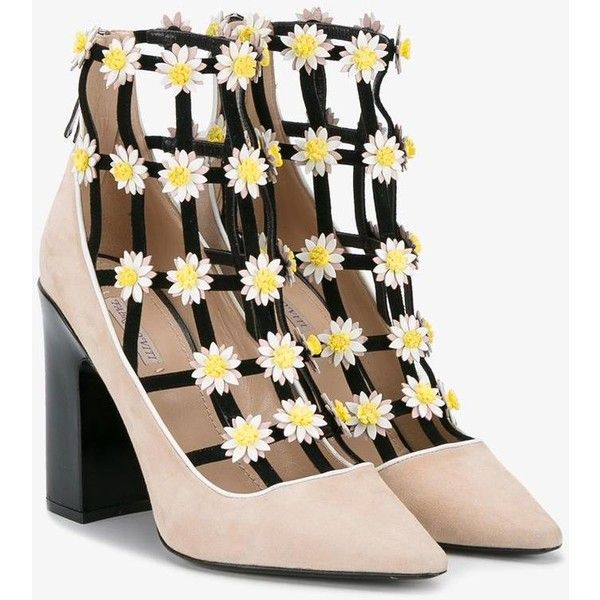 Fabrizio Viti  flower embellished booties ($1,220) ❤ liked on Polyvore featuring shoes, boots, ankle booties, embellished booties, high heel booties, blossom boots, embellished boots and high heel boots