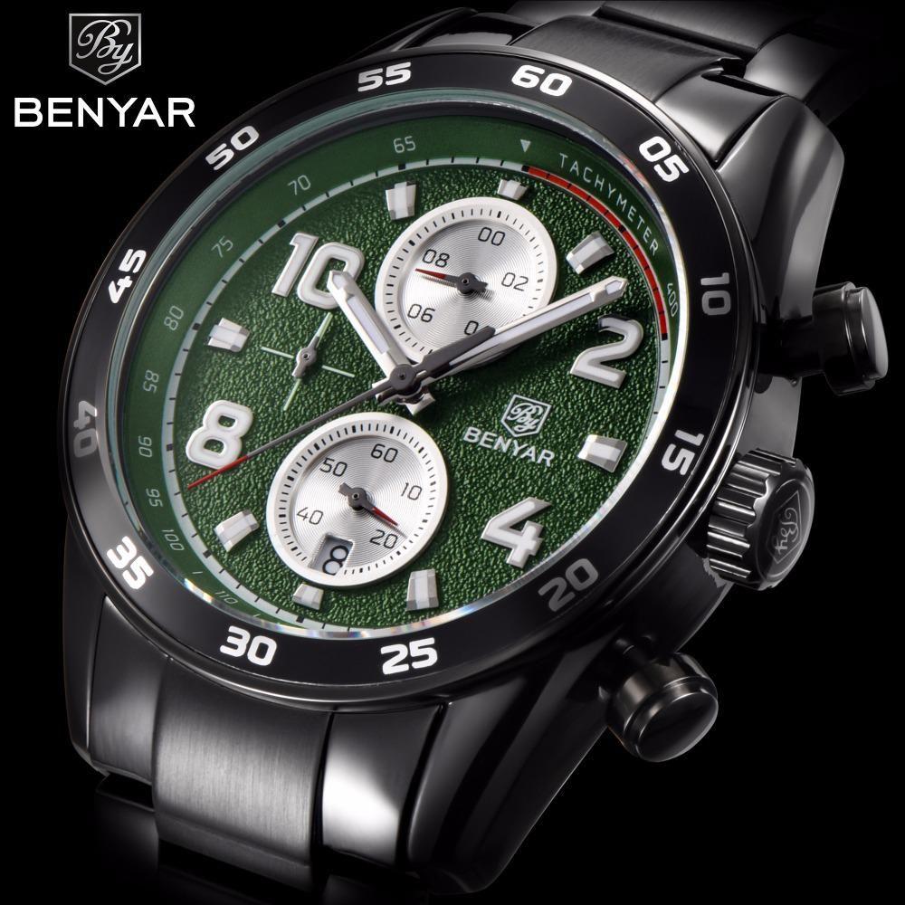 ec5d85826c0 BENYAR Business Quartz Watch Men Stainless Steel Waterproof Military Mens  Watches Top - US  32.99