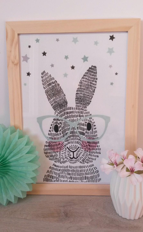 Grand cadre scandinave graphisme tendance mr lapin lunettes d coration pour enfants par joli - Cadre pour chambre enfant ...
