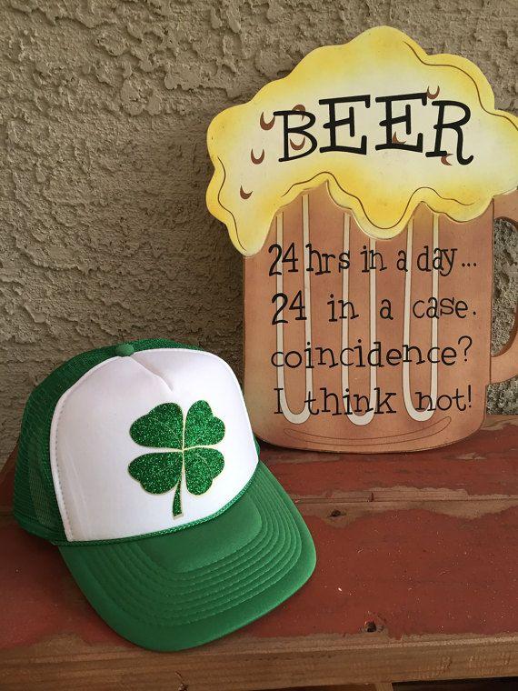 9f830cc4e3a Lucky Clover Shamrock Glitter Two Tone Foam Front Trucker Hat Saint  Patrick s Day Hat