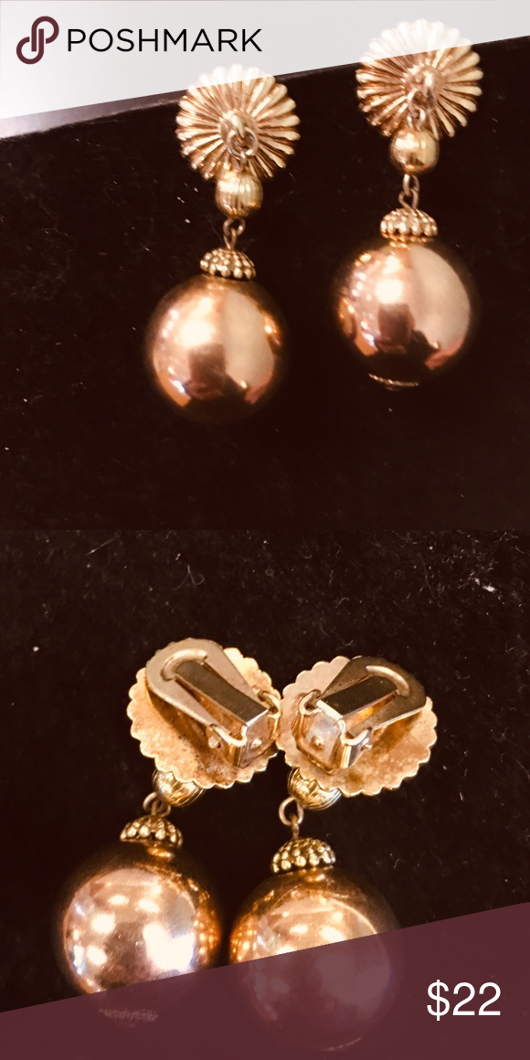 6d8b5027a Vintage Brass gold ball clip Earrings Vintage Brass Ball vintage clip on  earrings - these are 2 inches and are in ex condition Vintage Jewelry  Earrings