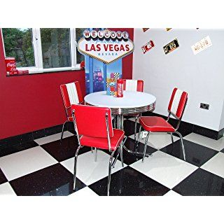American 50s Diner Furniture Budget Retro Style Table And 4 Red Chairs