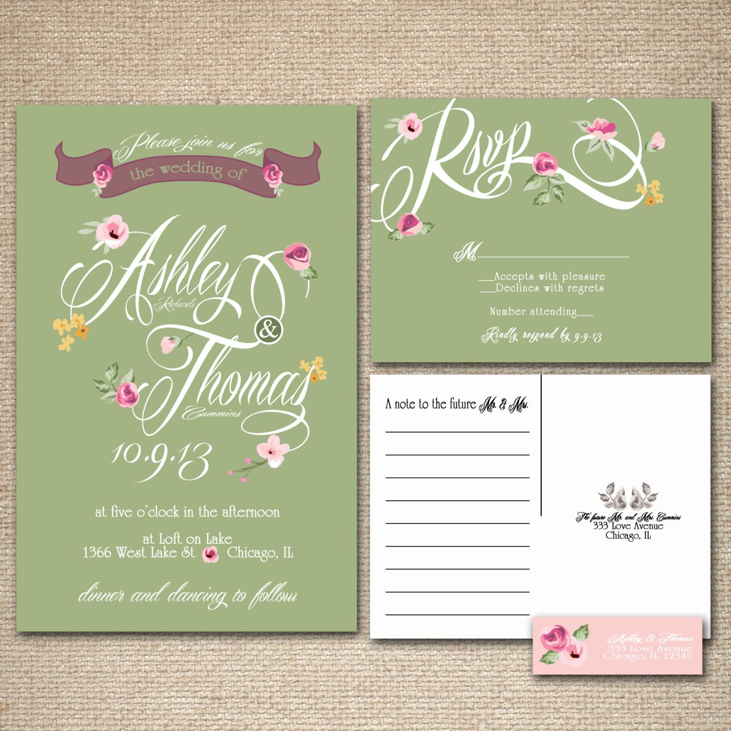 Floral Wedding Invitations Green and Pink by InvitingMoments | Mint ...