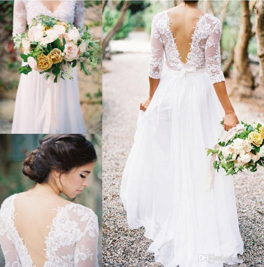 2017 spring boho sheath wedding dress with sheer long for Backless boho wedding dress