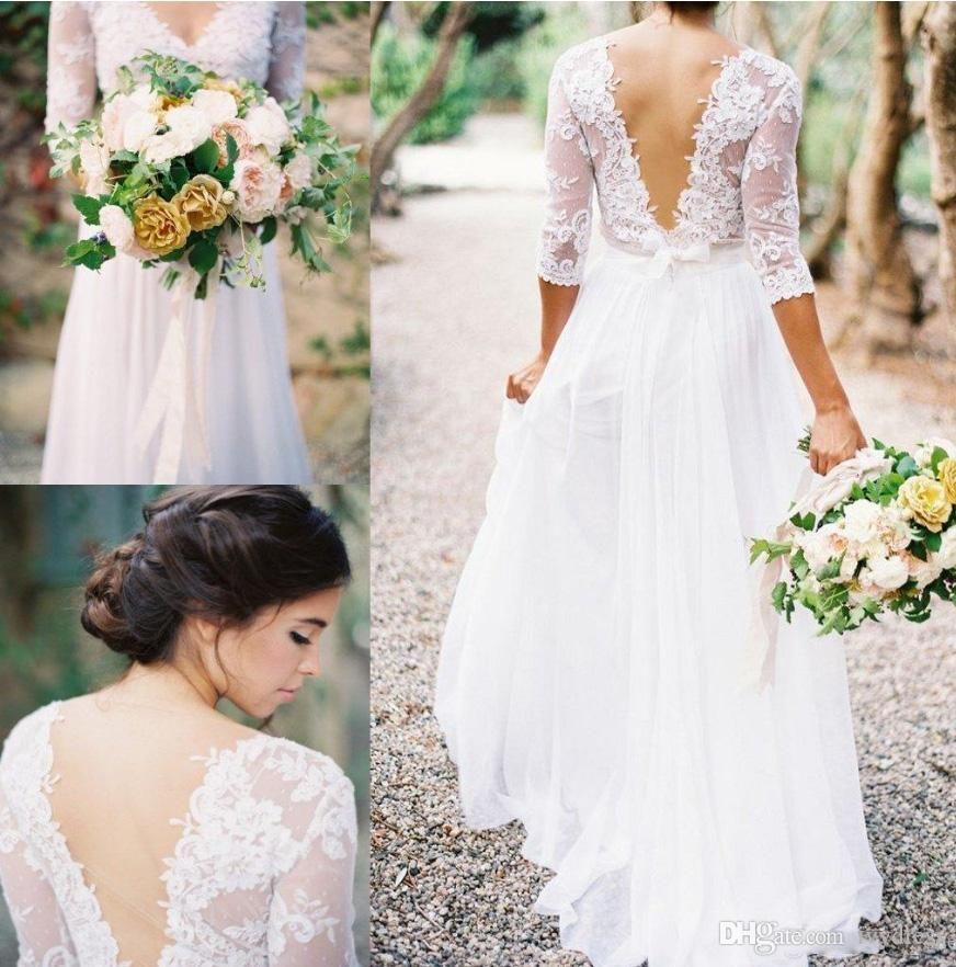 2017 Spring Boho Sheath Wedding Dress With Sheer Long Sleeves V Neck ...