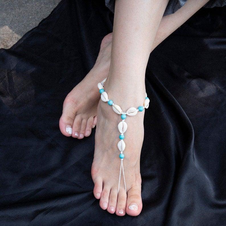 Women Cowrie Sea shells Anklet Bracelet Pink waxed cord Barefoot Sandal Beach
