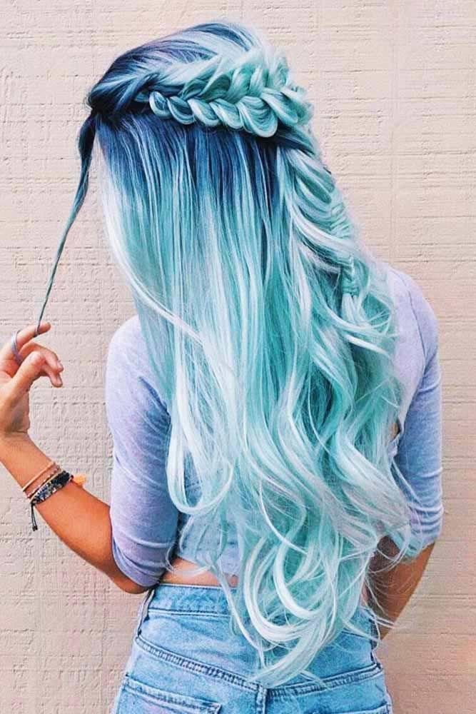 Gorgeous Half Up Braids Ideas Fishtail Braids Bluehair Longhair The Ideas We Have Collected Are Perfect Hair Styles Long Hair Styles Beautiful Hair Color