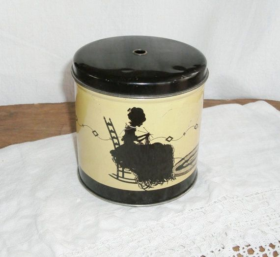 Vintage Kitchen Twine Dispenser: Silhouette Of Woman And Cat