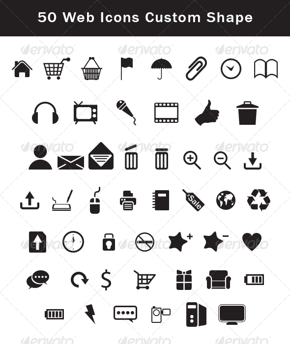 50 web icons custom shape set  csh, custom, icons, photoshop