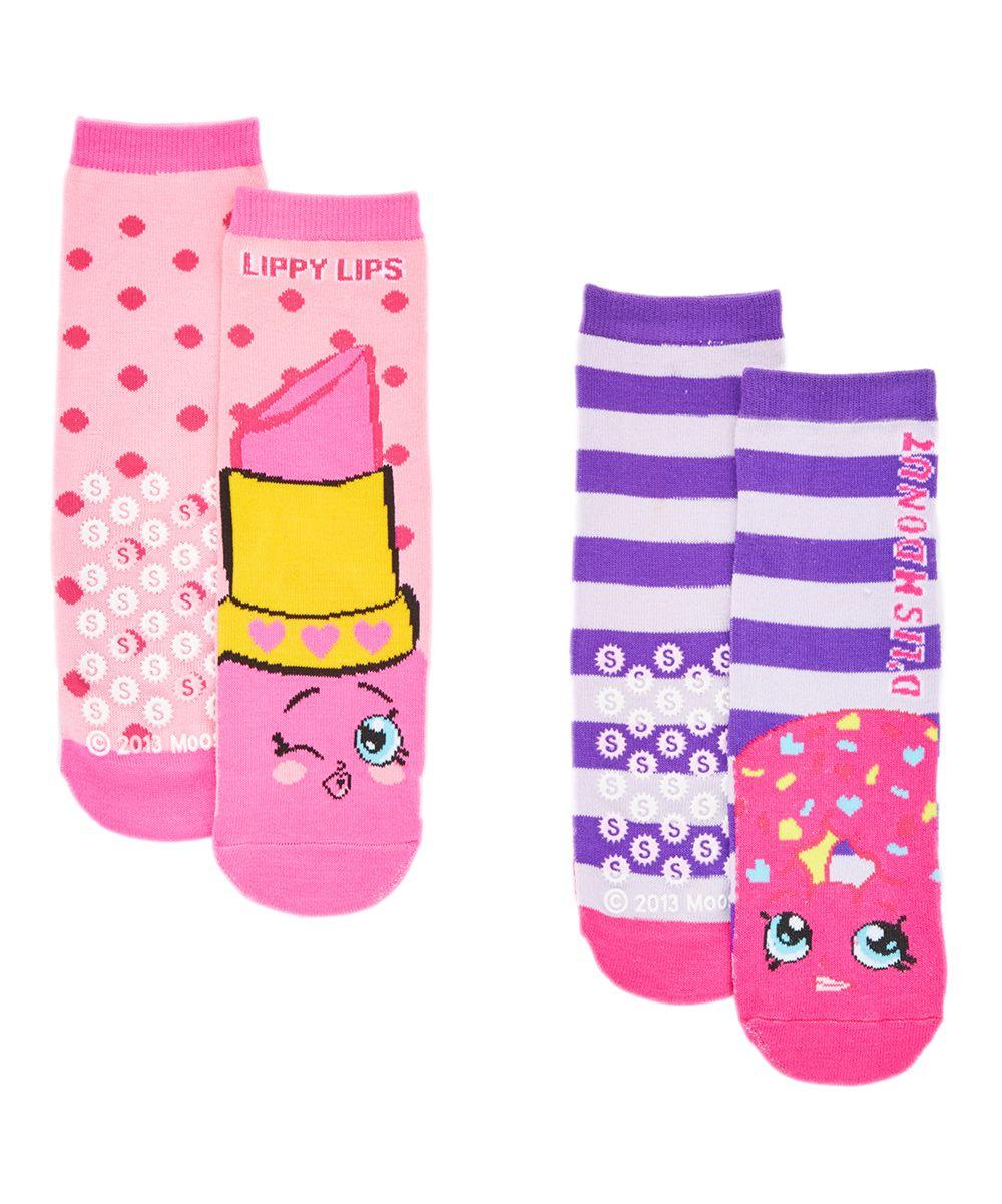 08690dae315 Shopkins Lippy Lips   D lish Donut Two-Pair Slipper Sock Set