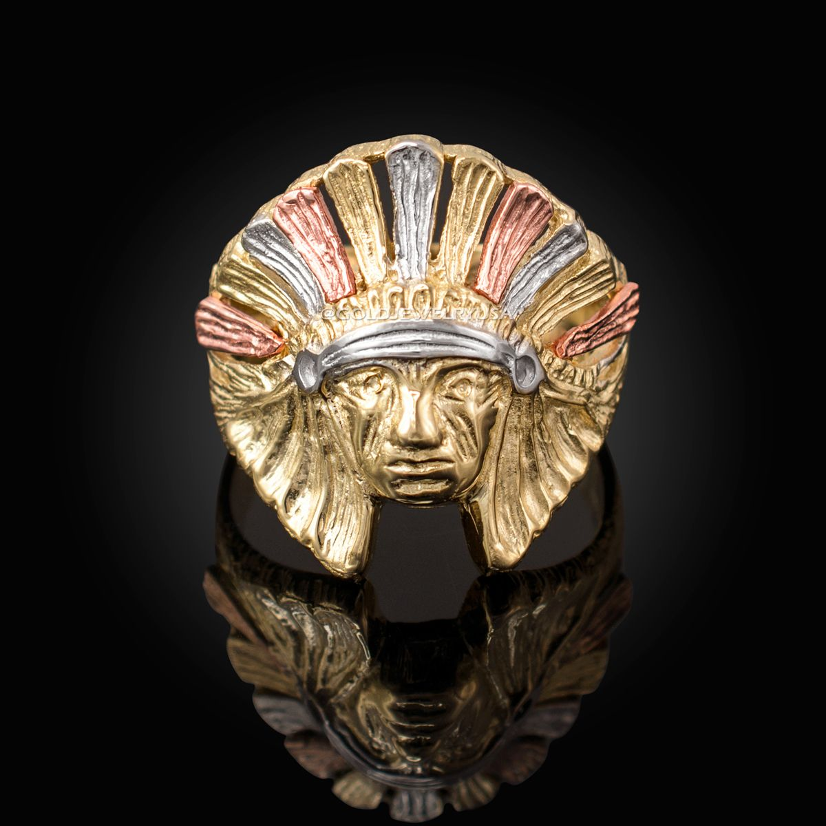 Multi Tone Yellow Gold Indian Chief Ring In 2020 Yellow Gold Mens Rings Yellow Gold Indian Chief