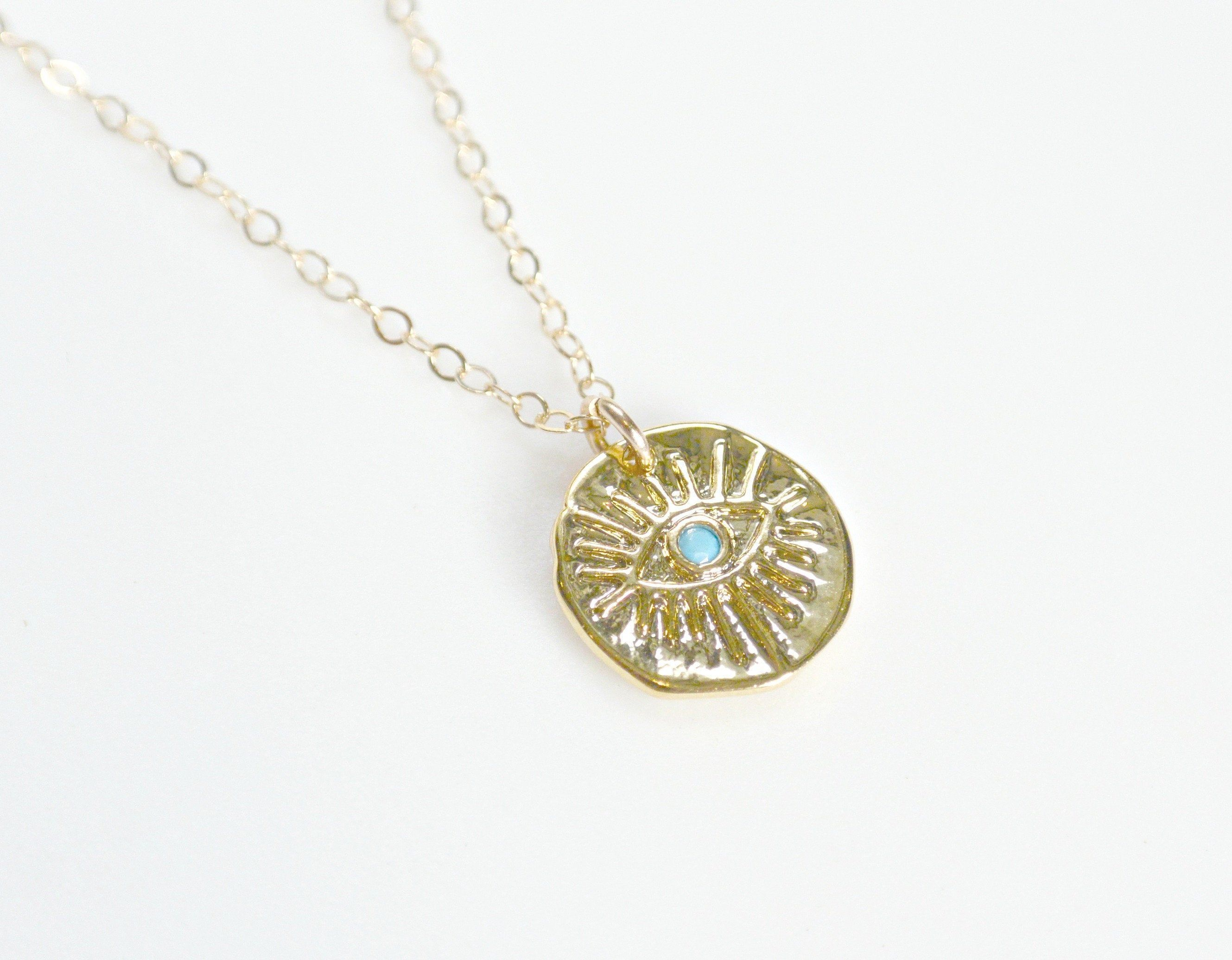 Evil Eye Necklace Medallion Necklace Gold Coin Jewelry BFF Gift Wife Necklace Gift for Her Disc Jewelry Protection Layering Necklace  Gold coin necklace