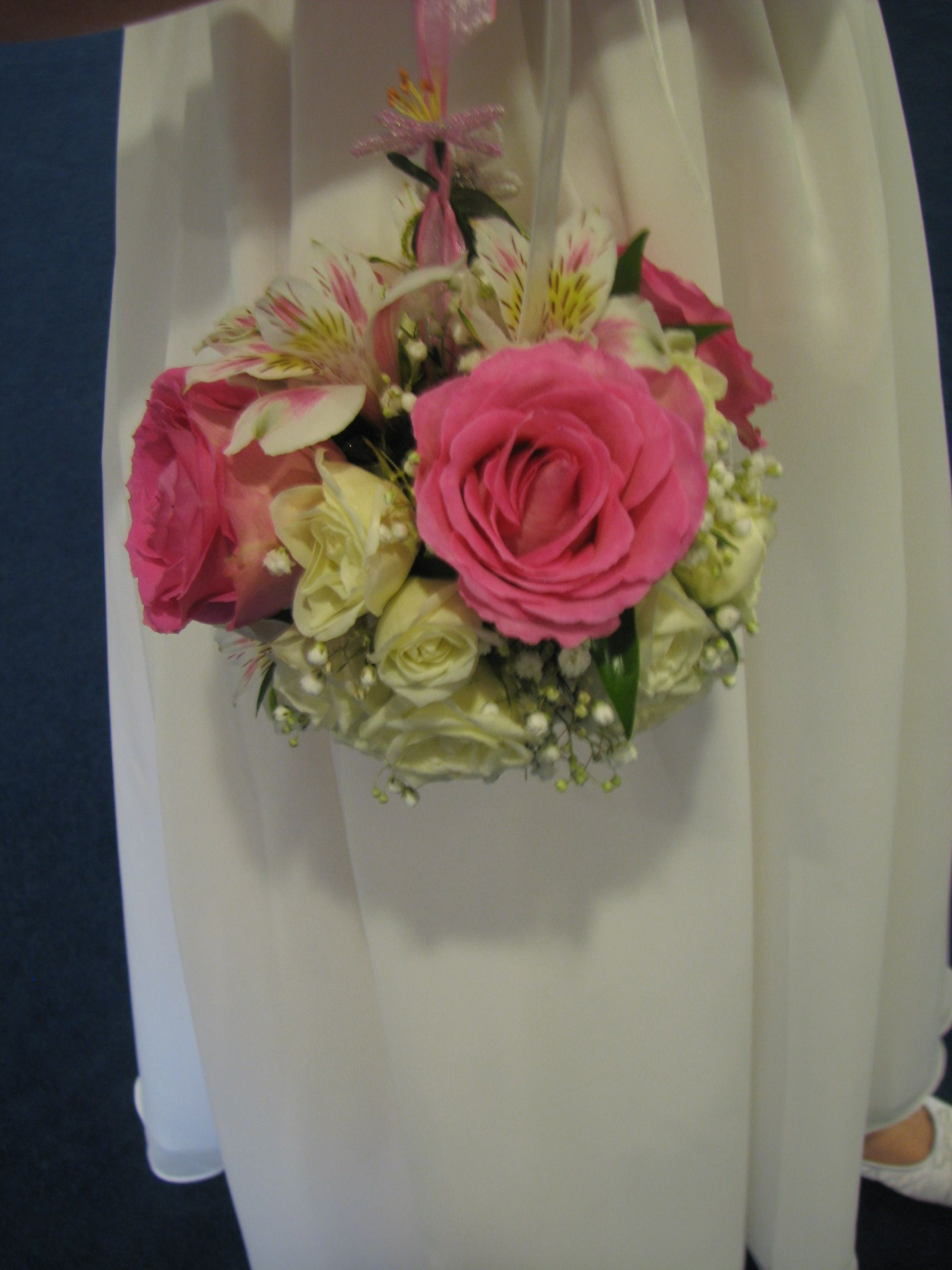 Kissing Ball For Flower Girl With Roses Alstroemeria And