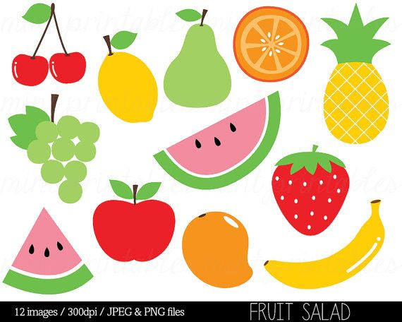 Fruit Clipart Clip Art Fruit Salad Watermelon Pineapple Etsy In 2021 Fruit Clipart Fruit Clip Art