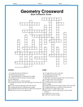 It Is A Free Form Crossword Puzzle That Features 25 Different Geometry Terms