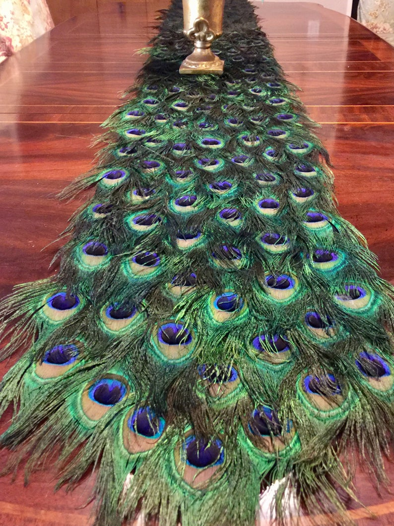 Peacock Feather Table Runner In Your Choice Of Lengths Etsy Peacock Feather Table Runners Peacock Living Room
