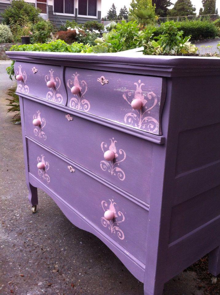 Sold Vintage Pink Purple Dresser By Sweetfindvintage On Etsy 150 00