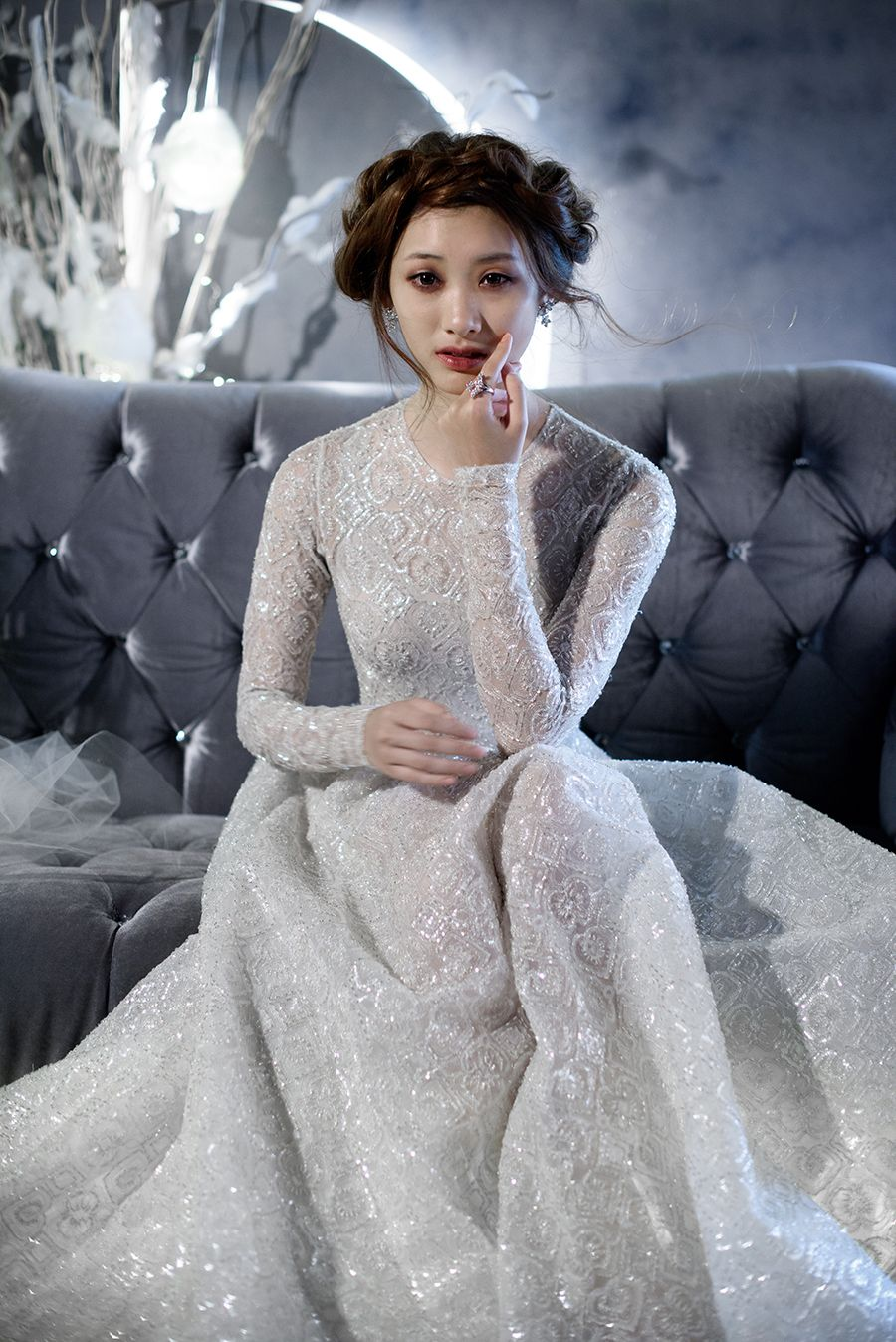 Winterus night wedding inspiration with paolo sebastian gowns