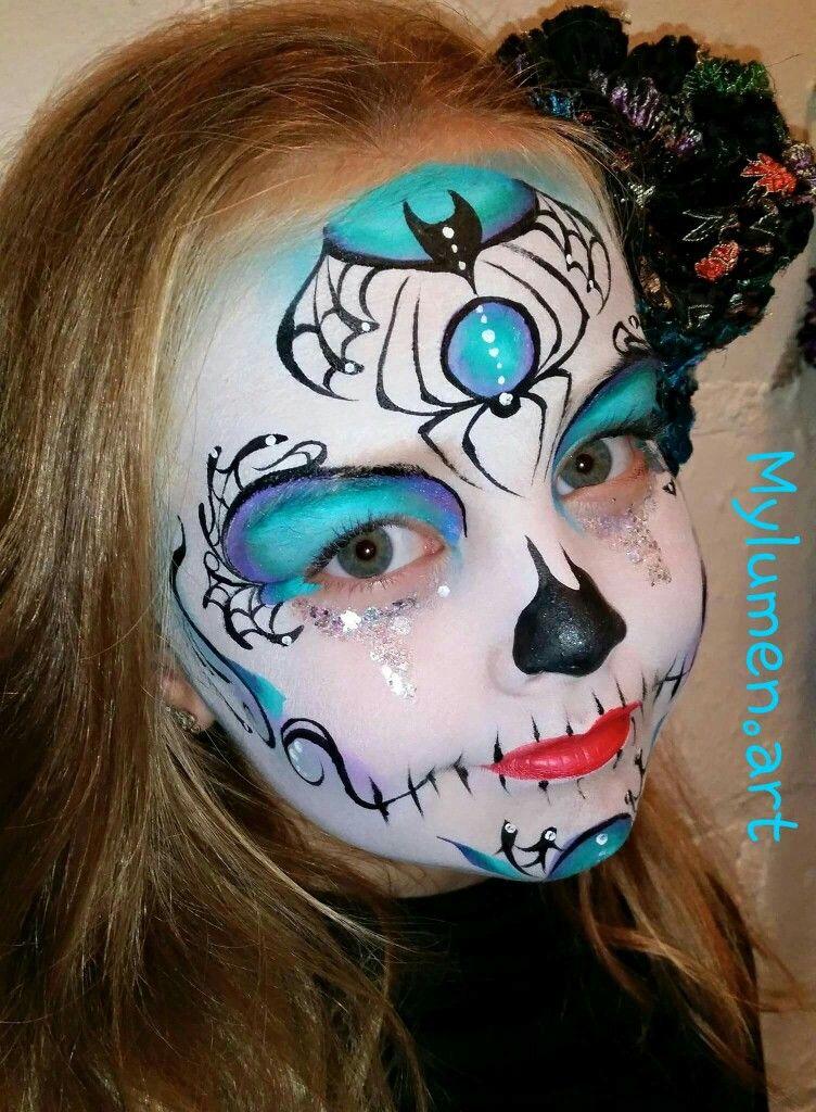 spider sugar skull halloween schminken halloween. Black Bedroom Furniture Sets. Home Design Ideas