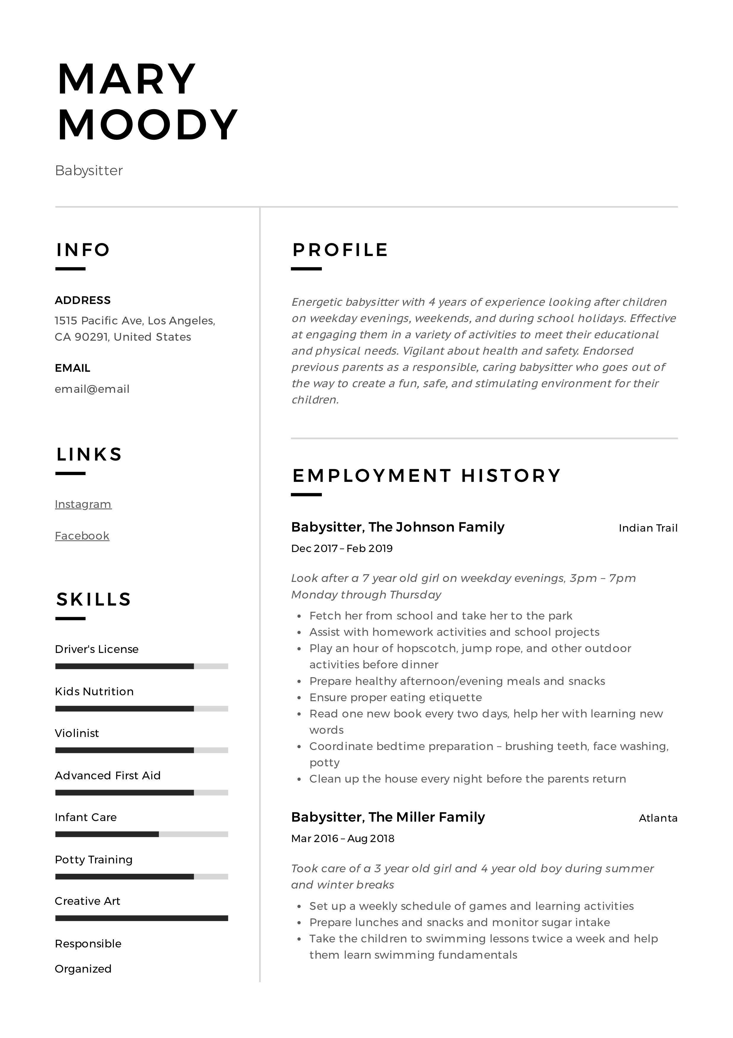 Babysitter Resume Sample Babysitter Jobs Babysitter Resume Babysitter