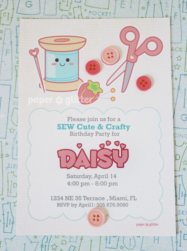 Sewing Craft Party Invitation for Birthday or Shower party or Thank ...