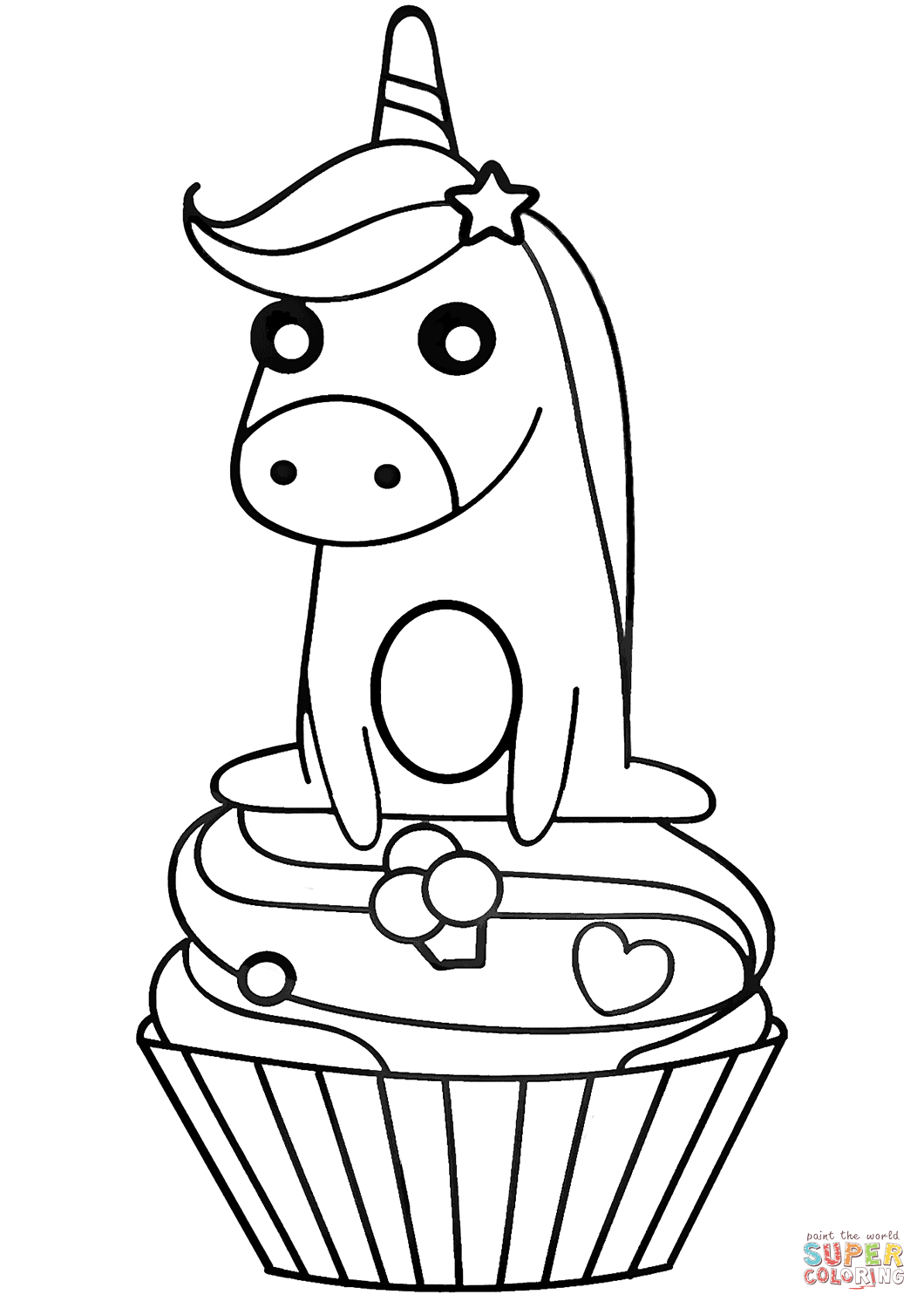 Unicorn On Cupcake Super Coloring In 2020 Cupcake Coloring