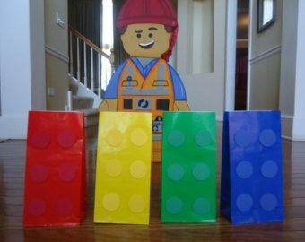 12 Lego party bags,Building block bags , Lego bags, Lego goody, lego favor