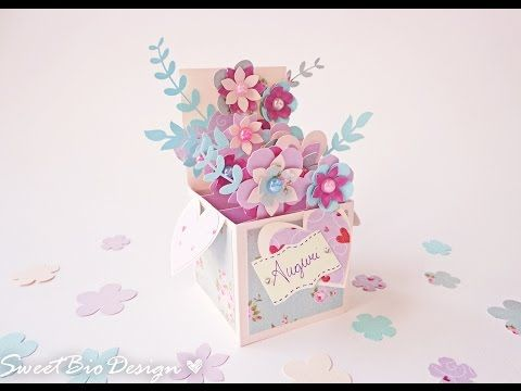 We Love Simple Papercrafts Especially When It Comes To Flowers And Greeting Cards This Beautiful 3d Fl Box Cards Tutorial Pop Up Box Cards Pop Up Flower Cards