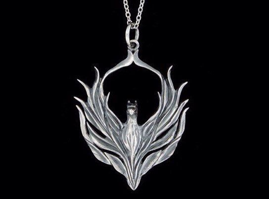 Angel of the Phoenix sterling Silver Pendant Peter Stone choice of chain /& gem