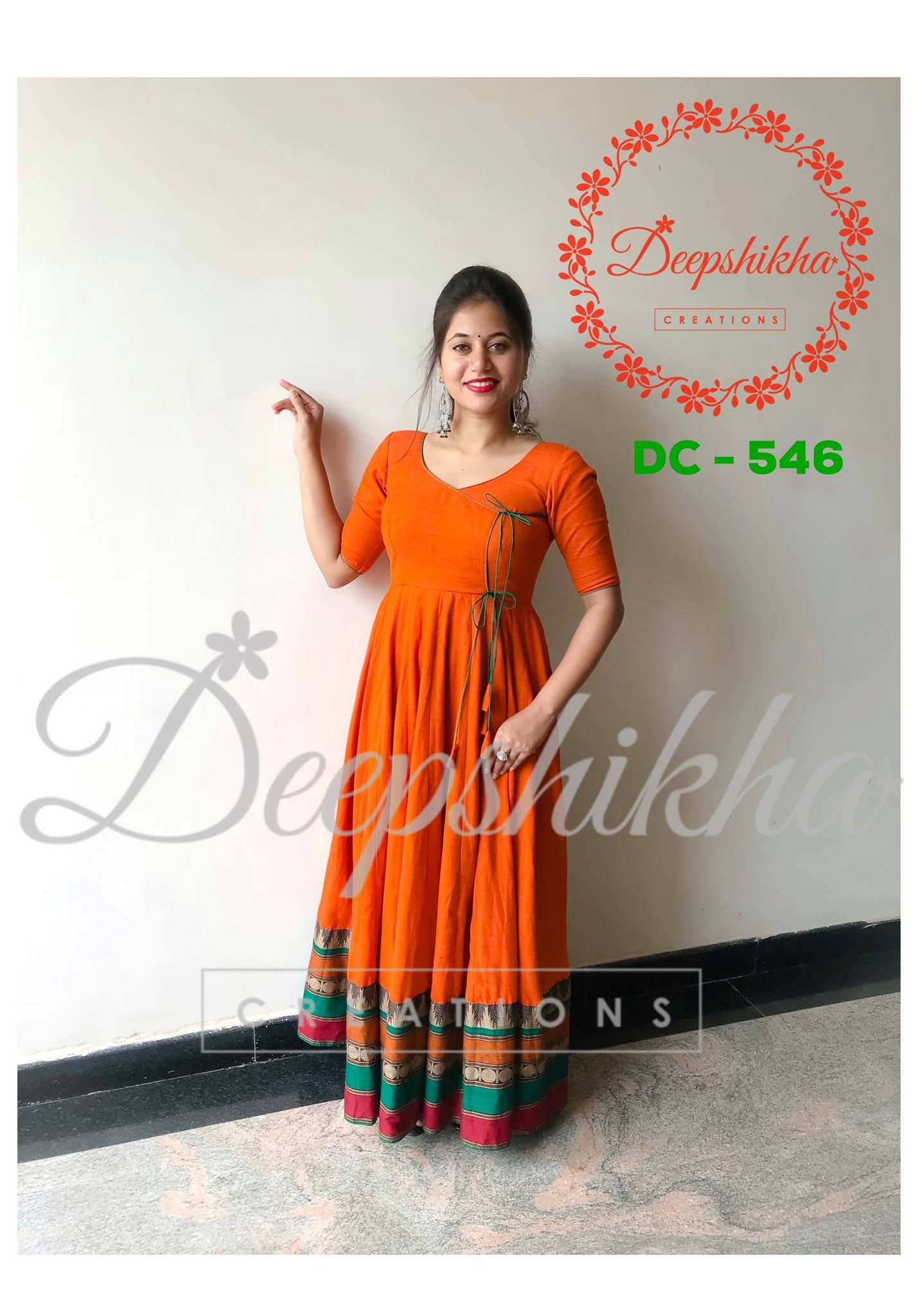 Dc 546 Beautiful Mustard Color Floor Length Ananrkali Dress With Rajastahni Style F Dress Indian Style Maxi Dress Cotton Kurti Designs Party Wear
