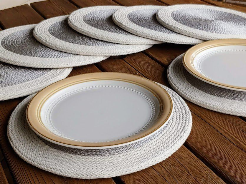 8 Piece Gray And White Round Placemats Holiday Table Decor Fall Table Decor Custom Burlap Placemat Holiday Table Decorations Fall Table Decor Wine And Dine