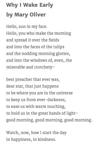 Why I Wake Early New Poems
