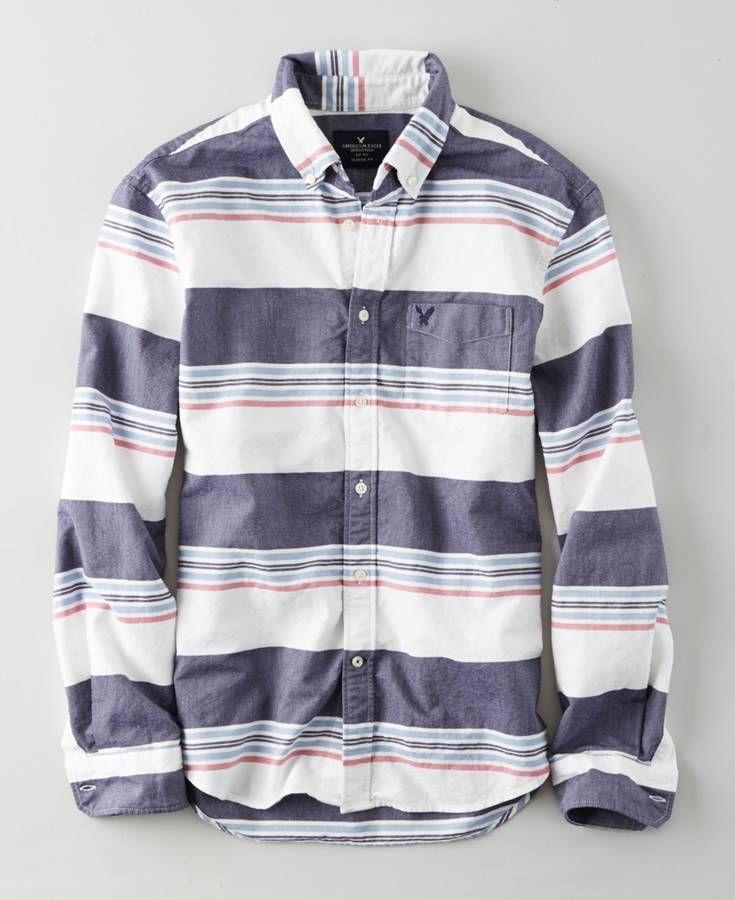 AEO Oxford Button Down Shirt, Men's, Blue