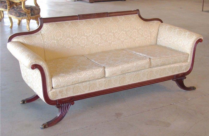 Duncan Phyfe Couches | Duncan Phyfe Style Mahogany Sofa C1910 To 1930