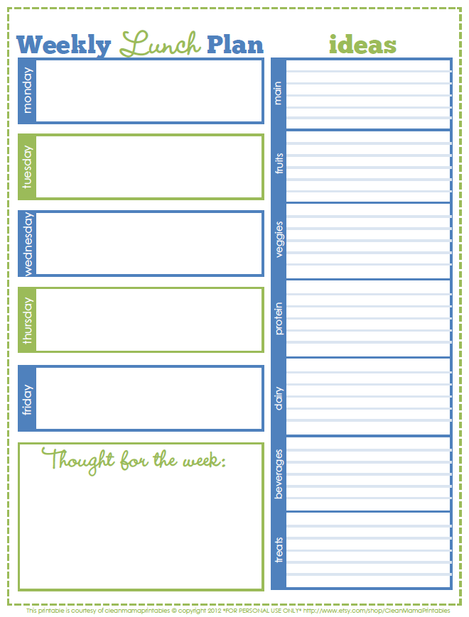 CLEAN MAMA: Free Lunch system printable