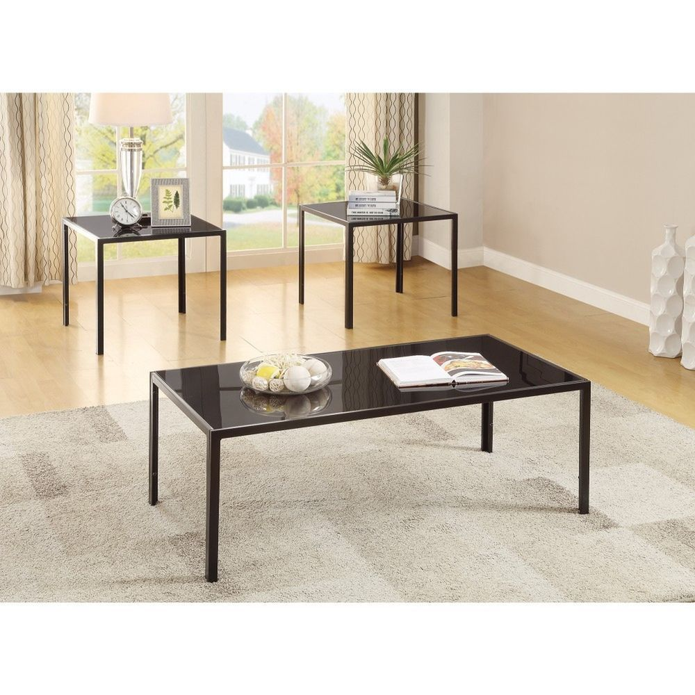 3 Piece Black Table Set With 1 Coffee Table & 2 End Tables Living ...