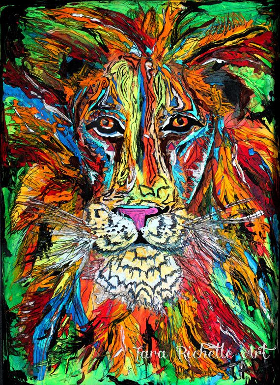 This original just sold <3 So I have decided to make it available as prints & posters in my shop,Iron Lion Zion, abstract lion, colorful, rasta, jamaica, modern, home decor, bob marley, reggae, wall art, african, bohemian, dreads, tattoo