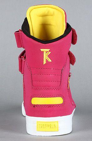 5a6c17a91ff0 SUPRA The Society Sneaker in Magenta Satin TUF Neon Yellow   Karmaloop.com  - Global Concrete Culture
