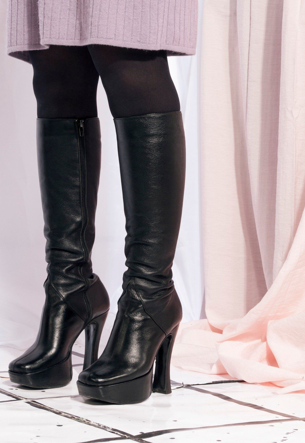 Details about  /Women Knee-High Boots Patent Leather Chunky Heel Riding Booties Combat Shoes Zip