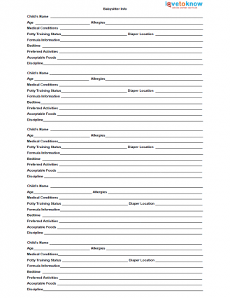 Printable Babysitter Forms Veiw Later Printables