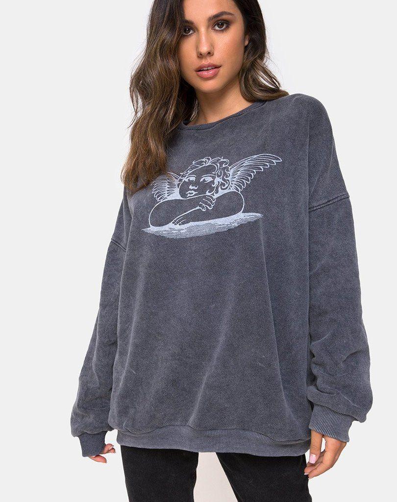 Glo Sweatshirt In Stone Wash Angelo Sweatshirts Sweatshirts Women Aesthetic Hoodies [ 1024 x 810 Pixel ]