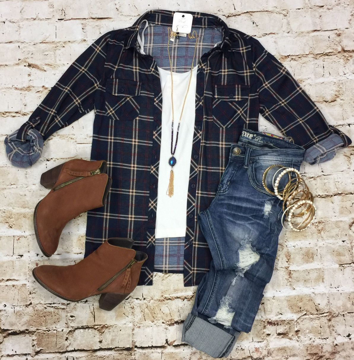 Flannel and denim jacket outfit  Penny Plaid Flannel Top NavyIvory from privityboutique  Fall