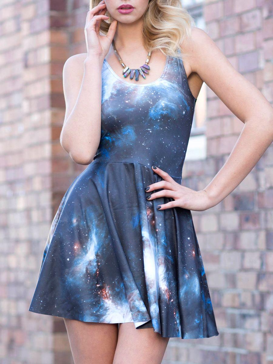 6726c30f44947 Galaxy Black Scoop Skater Dress (WW 48HR $85AUD / US - LIMITED $68 ...