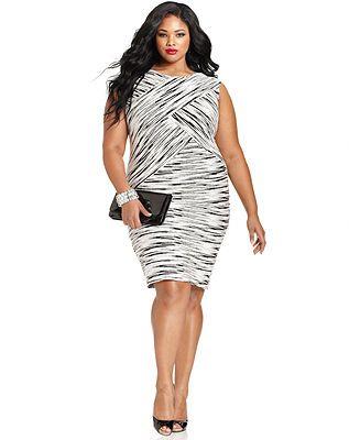 Calvin Klein Plus Size Sleeveless Printed Texture Sheath ...