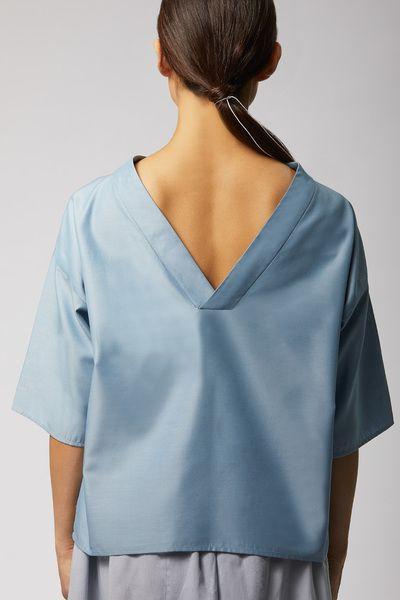 LUXAA Shirt Mit V-rücken Ausschnitt Aus Tencel - Hellblau