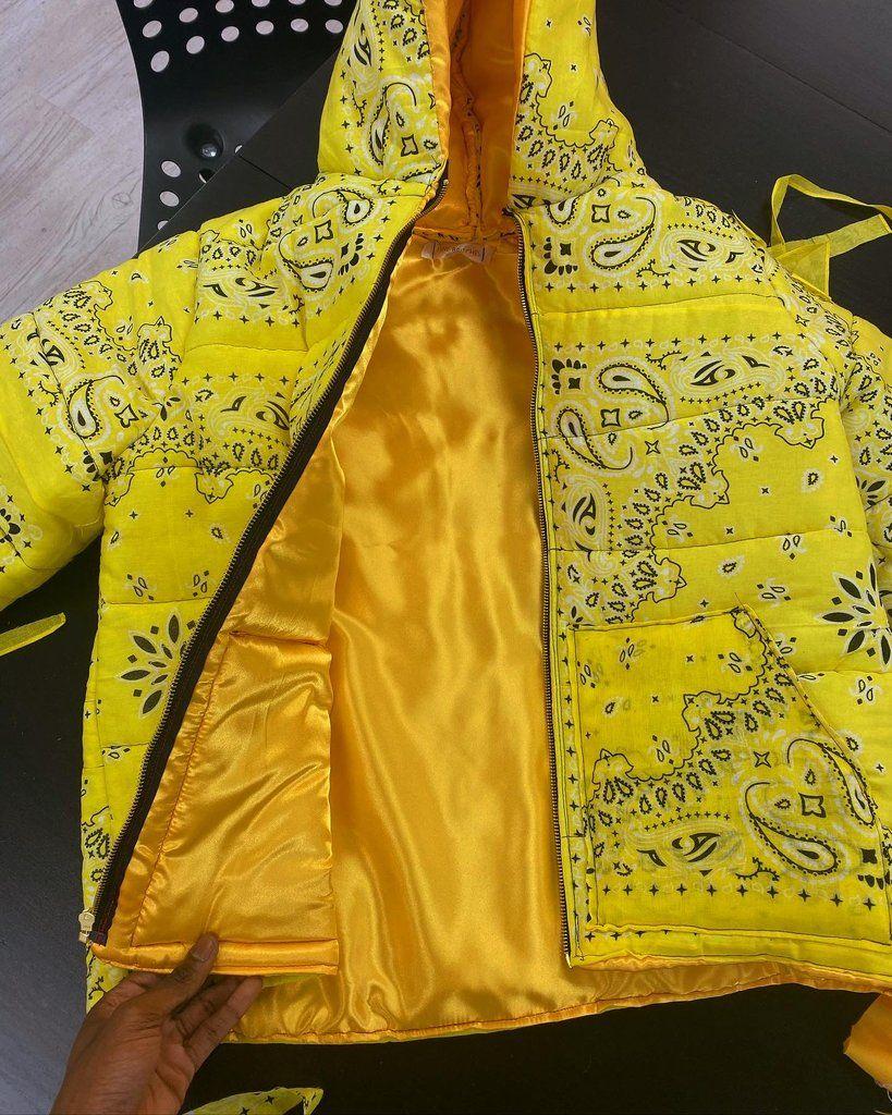 Lemonade Yellow Bandana Puffer Jacket V2 Simple Trendy Outfits Fashion Clothes Design [ 1024 x 819 Pixel ]