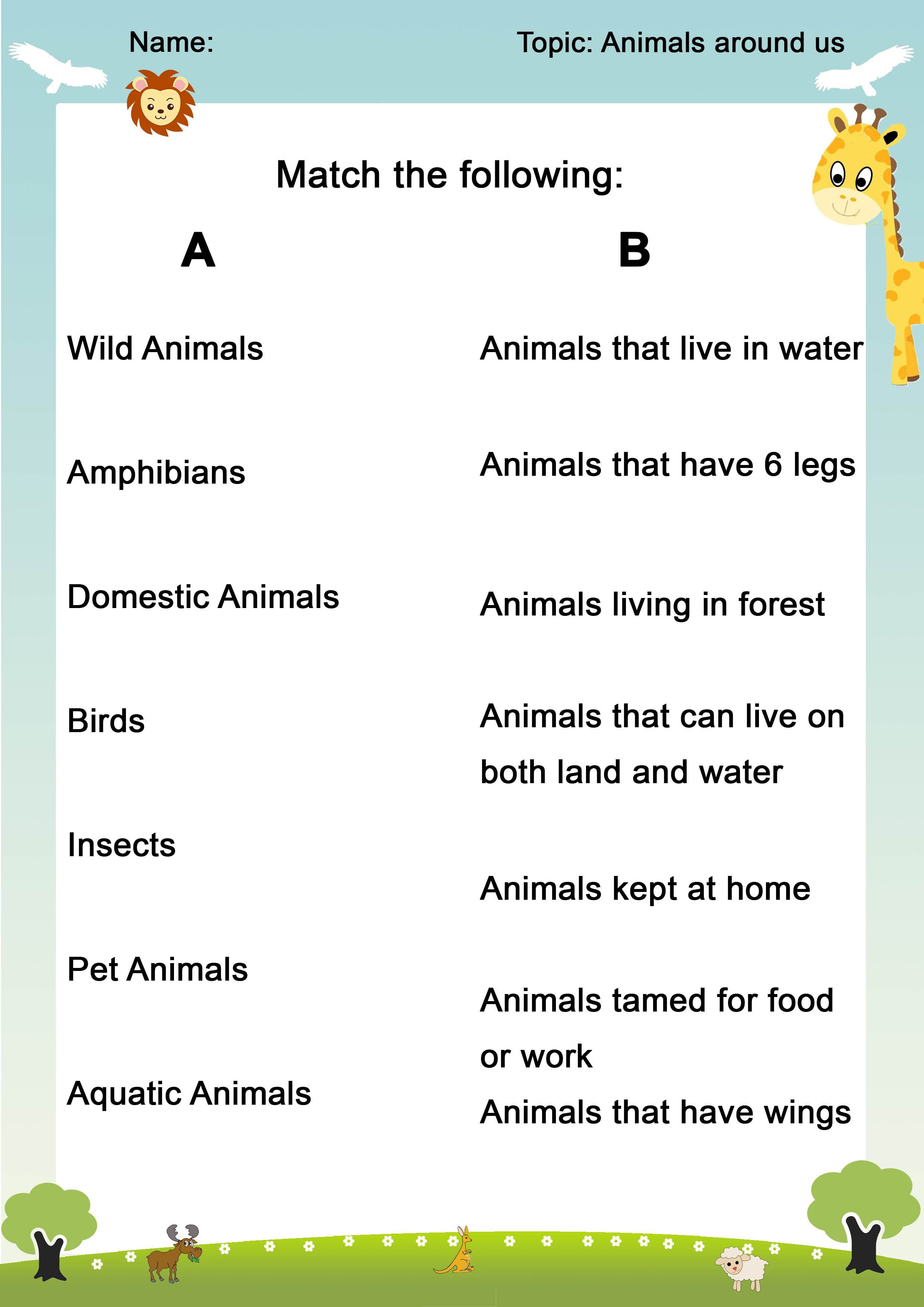 Worksheets Class1 Animals Around Us In