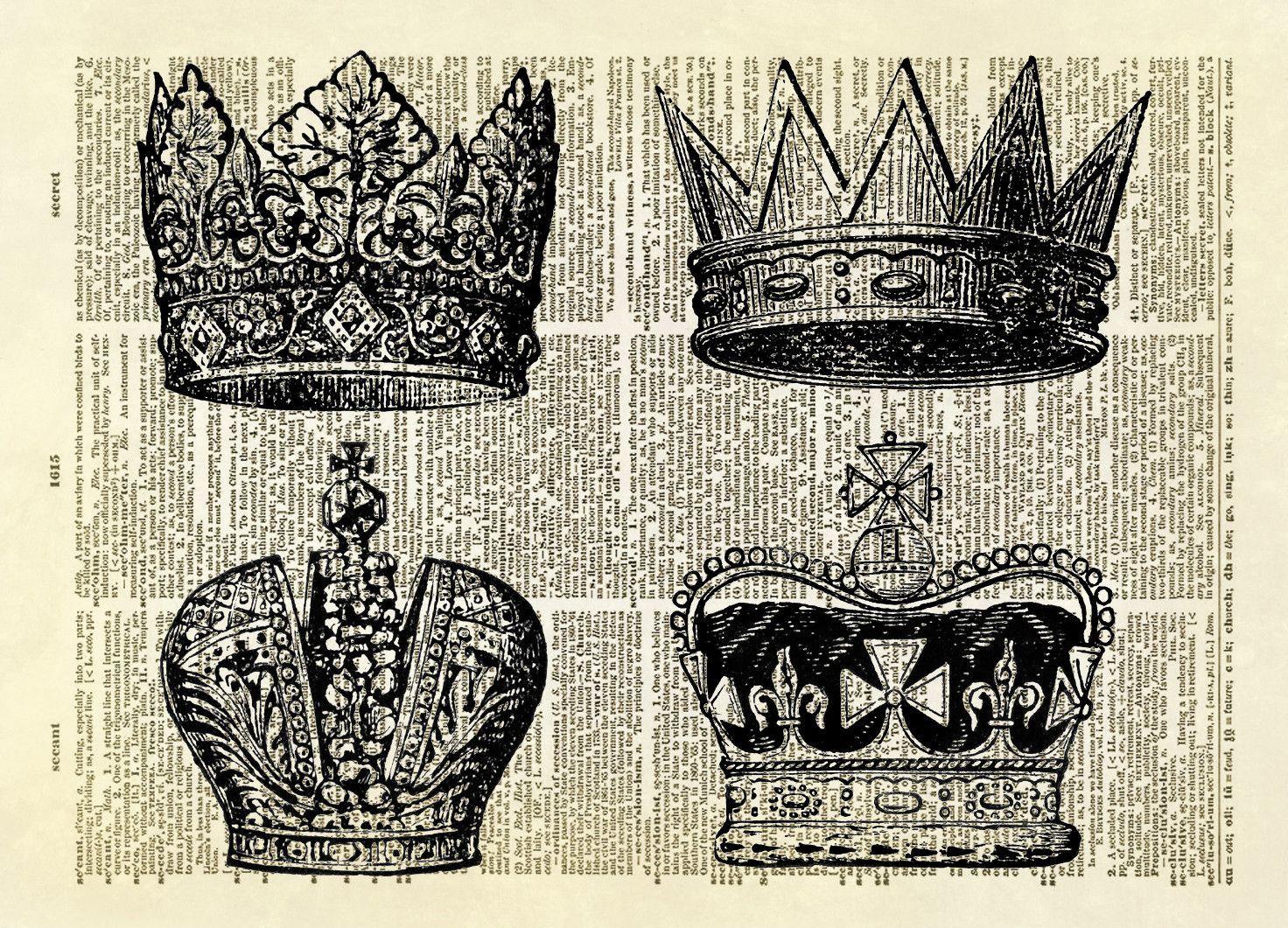 Four Royal Crowns Dictionary Art Print