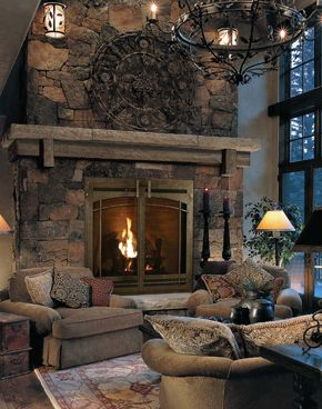 Big stone fireplace just not a gas one i enjoy hearing - Fireplace hearth stone ideas ...