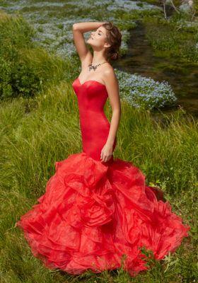 Red Mermaid Style Organza Dress